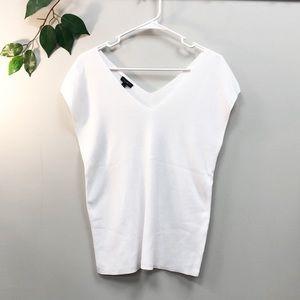 NEW. Talbots. White V-Neck knit top Medium